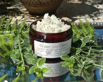 Green Tea Citrus Sugar Scrub - Natural Ingredients - Hand and Body