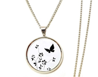 Flower white black Butterfly Necklace