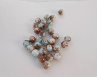 Glass beads 10 mm shades of beige, white, Brown and blue