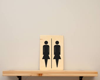 "Toilet signs "" women - women "" - vinyl on varnished wood (choose from a range of colours) - Door decor for bathroom or master bedroom"