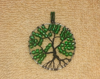 Green & black tree o' life pendant