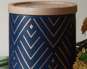 Scented Canister Soy Candle - Large Navy & Gold