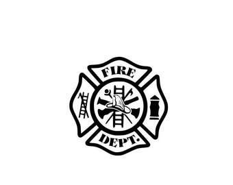 Maltese Cross Fire Dept Vinyl Decal