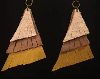 Gray and Mustard Yellow Suede Earrings