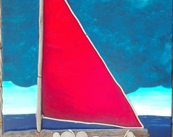 Contemporary painting of a Red Sailboat