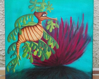 Painting contemporary seahorse, sea animals