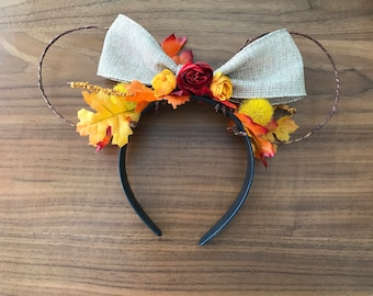 Fall Inspired Mouse Ears with Bow