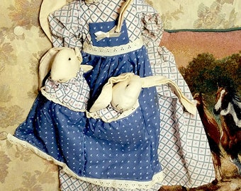 """MOMA RABBIT with TWINS,  25"""" Tall, Stuffed Animal Toy"""