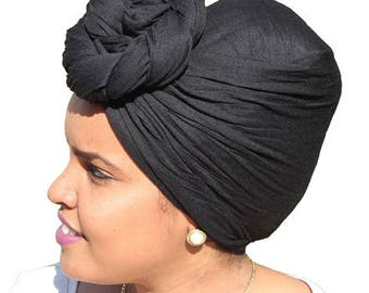 Black African Head Wrap For Women Stretched African Head Wrap Black African Head Scarves Long African Headwrap Stretchy African Headscarf