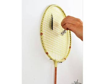 RACKETS ORGANIZER. Badminton. Decoration earrings Vintage recycling unusual Unique Original gift for him gift for her