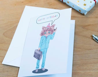 Funny Cat Illustrated Happy Birthday Card