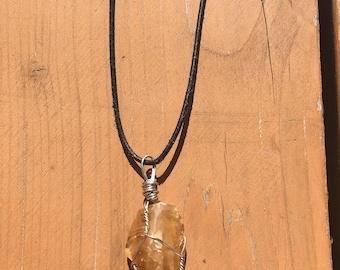 Honey Calcite Wire Wrapped Pendant