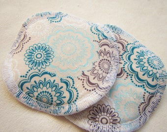Nursing Pads, Breast Pads, Bamboo Breast Pads, Cloth Nursing pads, Washable nursing pads, Breastfeeding, Baby shower gift, Teal Flowers