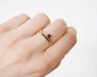 Tiny gold ring - black zircon ring - delicate ring - delicate gold ring - Gold ring - Dainty jewelry - R070