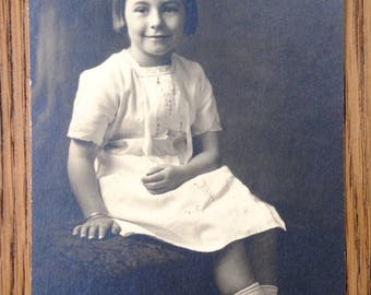 Vintage Photo - Young Girl Portrait - Vintage Snapshot - Girl White Dress - 1920s? Photo - Antique Photo -
