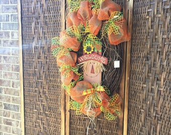 Fall Scarecrow Grapevine wreath