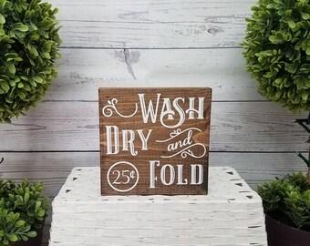Farmhouse Laundry Sign Wash Dry And Fold Room Decor
