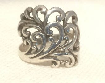 Vintage Sterling Silver Ring Waves Ocean Ring Tree of Life Branches Nature Ring Southwest Jewelry Filigree Ring 925 Waves
