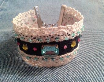 Jeans and rhinestone Cuff Bracelet