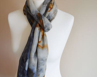 Naturally Eco Dyed Fine Cotton Navy Blue And Rust Orange Scarf