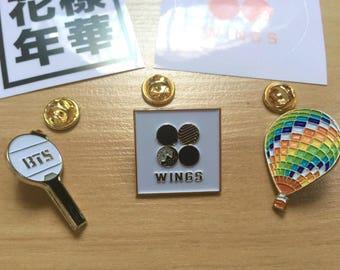 방탄소년단 BTS Bangtan Fan Made Gold Enamel Pin Badge: Wings | Army | Young Forever