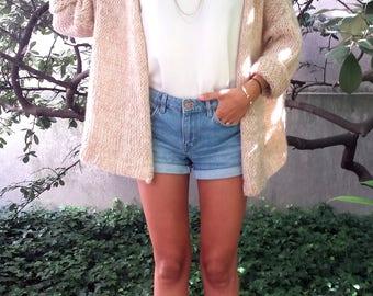 Women's Cardigan CUDDLY - oversize long sleeve mesh vest - pink beige