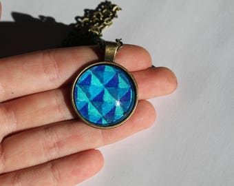 Shades of Blue Photo Pendant Necklace