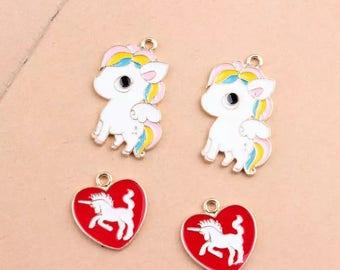 5/10pcs Horse Charm Unicorn Charm Animal Charm Cartoon Charm Anime Charm Unicorn Pendant Heart Pendant Bracelet Charm DIY Jewelry Accesories