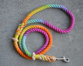 PRE-MADE Rainbow Sherbet Rope Leash (3/8 in. 4 ft.)