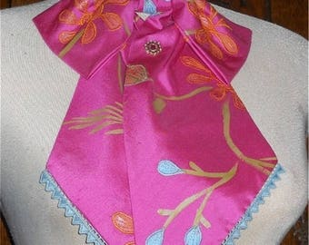 BOW style STOCK TIE - Pink Shanting Silk - PreTied. Perfect for Riding, Exhibition, Fashion, Theatre, Costume