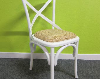 Bentwood Style Dining Chair in White with Rattan Seat