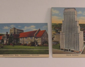 Two Small Postcards  -  Cards - Southwestern University - Sterick Building - Memphis - Texas