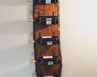 SOLD- Rustic Live Edge Wine Rack
