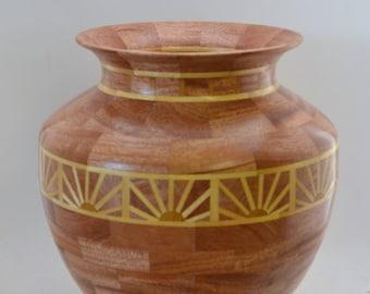 Segmented Vase with sunrise pattern. #123