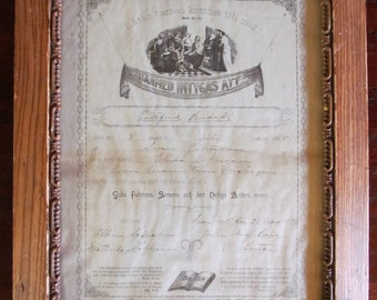Antique Swedish Language Baptism Certificate 1895