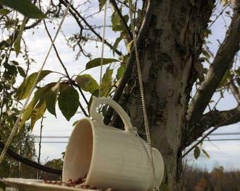 Handmade Cup and Saucer Bird Feeder Demitasse Size