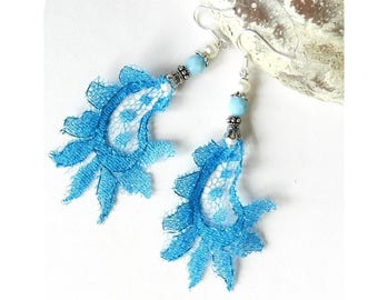 Lace turquoise earrings