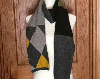 Gray, Green and Yellow Felted Cashmere Scarf -#17