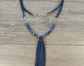 Navy Suede and Gemstone Necklace with Tassel