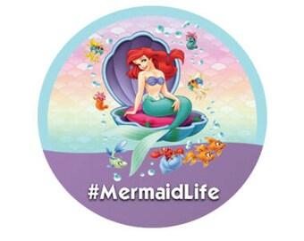 Mermaid Life Ariel Button - The Little Mermaid Button - Mermaid Pin - Lanyard Button - Disney Park Button - Theme Park Button