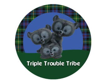 Triple Trouble Tribe Bear Brothers Button - Brave Button - Merida Button - Disney Park Button - Brave Lanyard Pin - Theme Park Badge