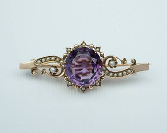 Antique Amethyst and Seed Pearl Brooch 10k