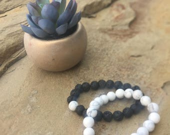 Friendship - Howlite and Lava Stone Beaded Bracelet (2 bracelets)