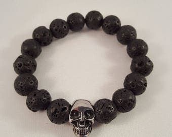 Precious stone bracelet for him made of lava and stainless steel skull