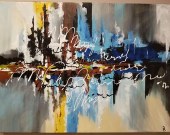Original Abstract Painting Acrylic Art Textured Wall Decor On Canvas 24x18in