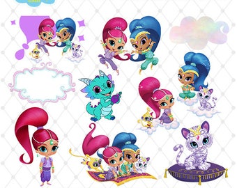 Shimmer and Shine Clipart, PNG Clip Art Files, Shimmer and Shine Printable Images, Digital Download, Transparent Background, Blue-028
