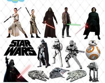 Star Wars Clipart, PNG Clip Art Files, Star Wars Printable Images, Rey, Digital Download, Scrapbook, Transparent Background, Blue-031