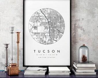 Tucson Map, Minimalist Map,  Tucson Print, Tucson Poster, Tucson Art, Modern Map Print, Map of Tucson, Tucson City Map Art, Tucson Arizona