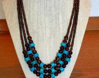 Blue Turquoise and Brown Bead Necklace Set