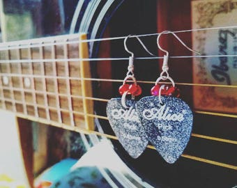 Black Guitar Pick Earrings